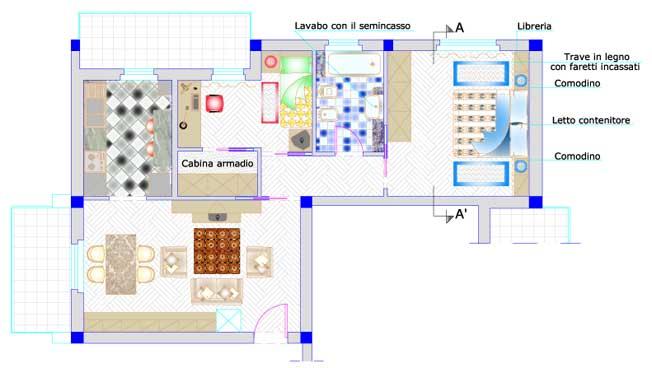 Appartamento moderno - Pianta di una cucina ...