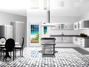 arredamento cucina in bianco e nero