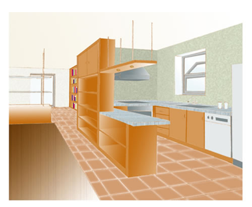 Ambiente unico cucina soggiorno - Arredamento cucina salone ...