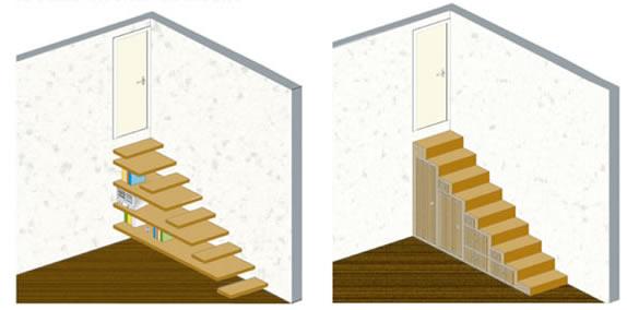 Ambiente unico cucina soggiorno for Scale in legno fai da te