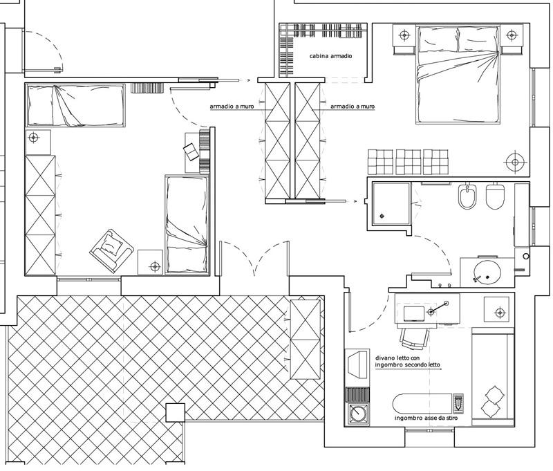 Il ruolo del corridoio e della cabina armadio for Cabina armadio attraverso il bagno