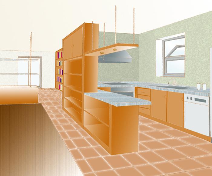 Pareti attrezzate o mobili divisori - Parete attrezzata per cucina ...